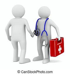 docteur, patient, blanc, fond, isolé, 3D, image