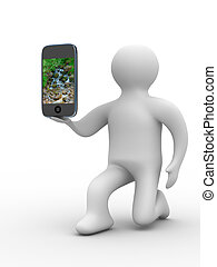 man and phone Isolated 3D image