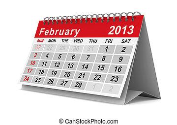 2013 year calendar. February. Isolated 3D image