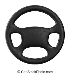 Steering wheel on white background Isolated 3D image