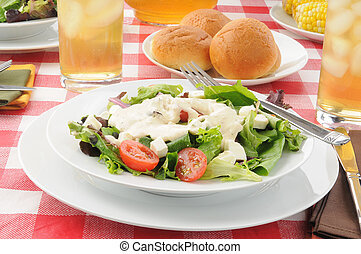 Tossed salad with ranch dressing - A tossed green salad with...
