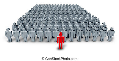 Business Group Leader symbol with a large crowd of grey...