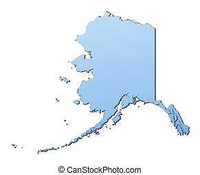 Alaska(USA) map filled with light blue gradient. High...
