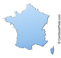 France map filled with light blue gradient. High resolution....