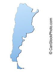 Argentina map filled with light blue gradient High...