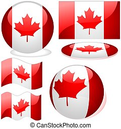 Canada Set - flags collection with glass effect