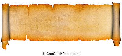 Scroll of parchment. - Antique scroll on a white background.