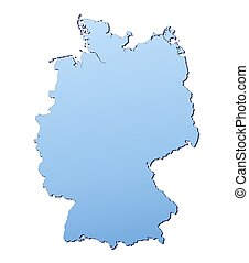Germany map filled with light blue gradient. High...