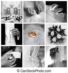 Wedding photos - Collage of nine wedding photos in gentle -...