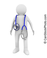 doctor with stethoscope on white background. Isolated 3D...