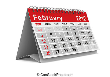 2012 year calendar February Isolated 3D image