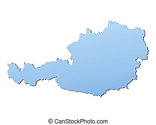 Austria map filled with light blue gradient. High...