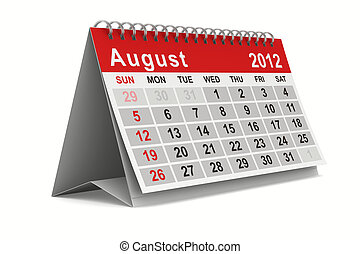 2012 year calendar August Isolated 3D image