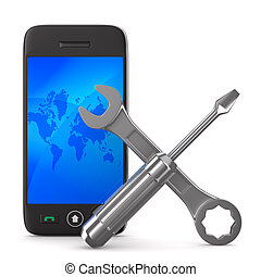Phone repair on white background Isolated 3D image