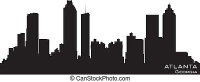 Atlanta, Georgia skyline. Detailed vector silhouette -...