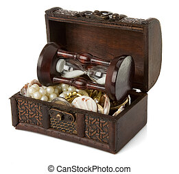 chest with coins and jewels on white - chest with coins and...