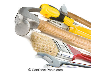 construction tools isolated on white background,