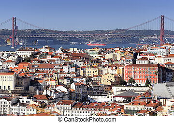 Panoramic view of Lisbon and the river Tagus, Portugal