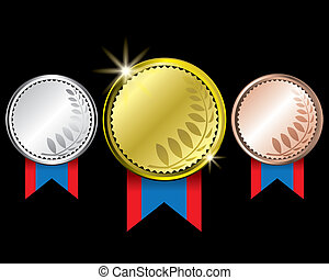 Awards medals - Awards as medals - gold, silver and bronze
