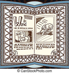 Magic book with the spell of wind