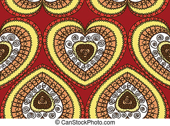Seamless ornament of hearts