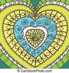 Ornament of hearts. cold gamma