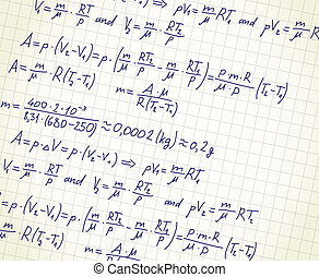 mathematic formulas - Squared paper with mathematic formulas