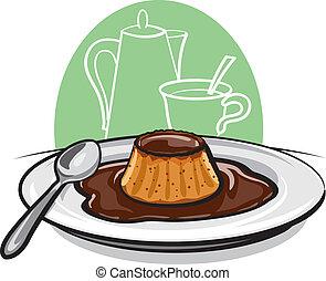 Caramel custard pudding flan