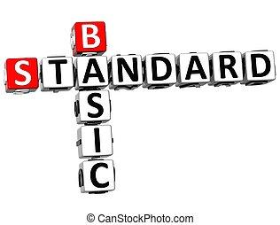 3D Basic Standard Crossword on white background