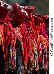 Inca dancers - Detail of clothes of Andean dancers