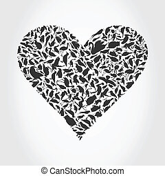 Heart a bird - Grey heart collected from birds. A vector...