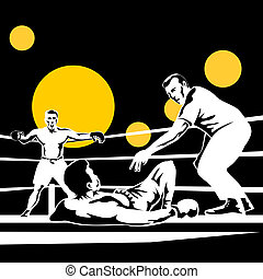 Boxer knocked out - Illustration on the sport of boxing