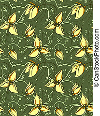 Seamless Pattern with Stylized Orchids Flowers. Floral Vector Background