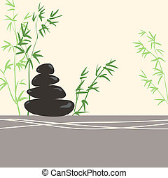 Spa Concept Stylized Zen Basalt Stones with Green Bamboo and...