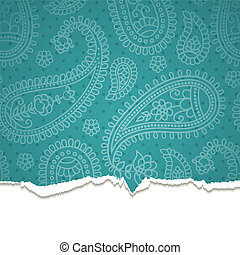 Torn paper with a paisley pattern Vector illustration Eps10...