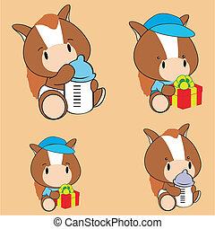horse baby cartoon set