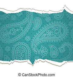 Torn paper with a paisley pattern. Vector illustration....