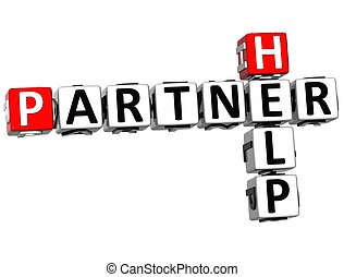 3D Help Partner Crossword on white background