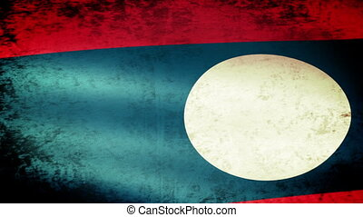 Laos Flag Waving, grunge look