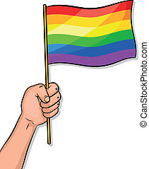 gay pride - hand holding a gay pride flag
