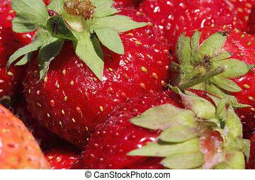 fresh, juicy and healthy strawberries close up