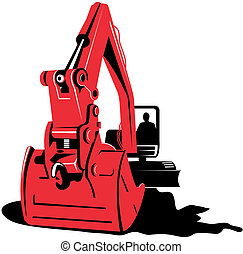 Mechanical digger - Illustration on construction equipments