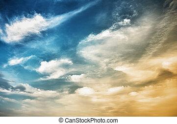 azul, cielo, Oscuridad, nubes, punteado