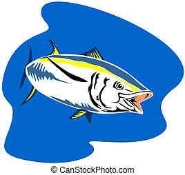 Yellow finned tuna - Illustration on marine life