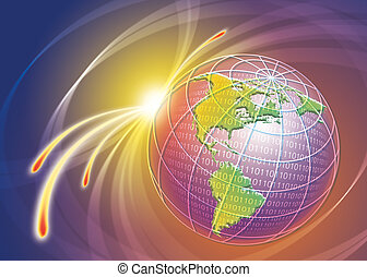 world technology connecti - illustration image file of world...
