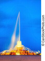 Illuminated fountain in Millenium park, Chicago