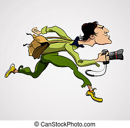 Photographer Person with Camera. Travel Journalist Reporter...