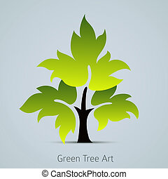 Tree vector icon with green leaves