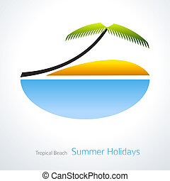 Tropical Vacation Icon. Palm Tree, blue sea and sand. Travel Design Vector