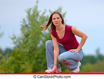 Girl in casual clothing - Girl wearing casual clothing,...